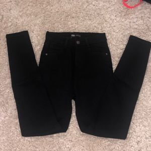 Zara High Waisted Black Skinny Jeans